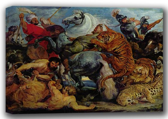 Rubens, Peter Paul: Tiger, Lion and Leopard Hunt. Fine Art Canvas. Sizes: A4/A3/A2/A1 (001566)